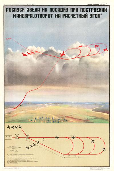 """0229. Военный ретро плакат: Роспуск звена на посадку при построении маневра """"отворот на расчетный уровень"""""""