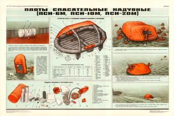 0241. Военный ретро плакат: Плоты спасательные надувные (ПСН-6М, ПСМ-10М, ПСН-20М)