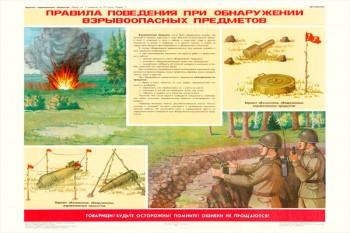 0303. Военный ретро плакат: Правила поведения при обнаружении взрывоопасных предметов