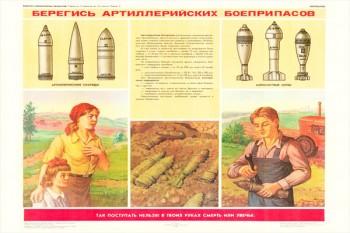 0307. Военный ретро плакат: Берегись артиллерийских боеприпасов