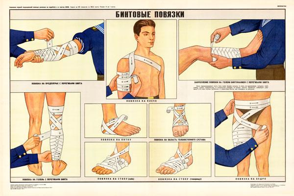 0334. Военный ретро плакат: Бинтовые повязки