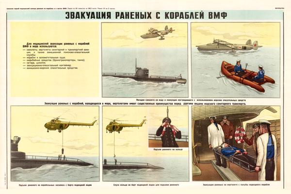0337. Военный ретро плакат: Эвакуация раненых с кораблей ВМФ