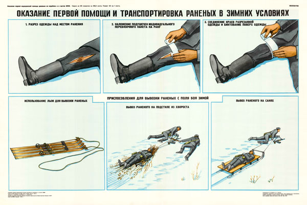 0340. Военный ретро плакат: Оказание первой помощи и транспортировка раненых в зимних условиях