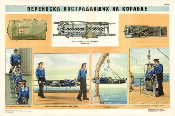 0342. Военный ретро плакат: Переноска пострадавших на корабле
