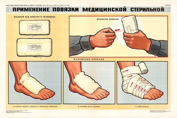 0351. Военный ретро плакат: Применение повязки медицинской стерильной