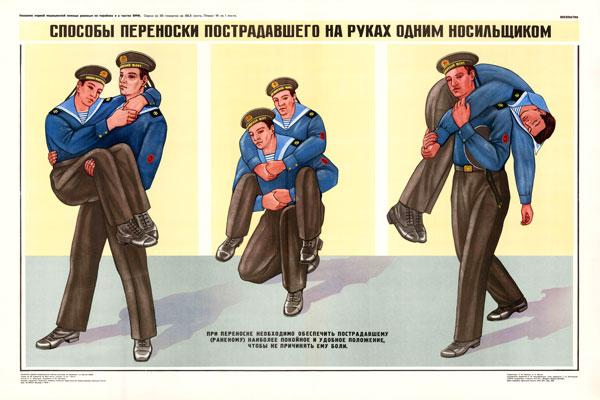 0352. Военный ретро плакат: Способы переноски пострадавшего на руках одним носильщиком