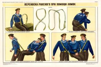 0354. Военный ретро плакат: Переноска раненого при помощи лямок