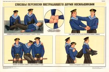 0355. Военный ретро плакат: Способы переноски пострадавшего двумя носильщиками