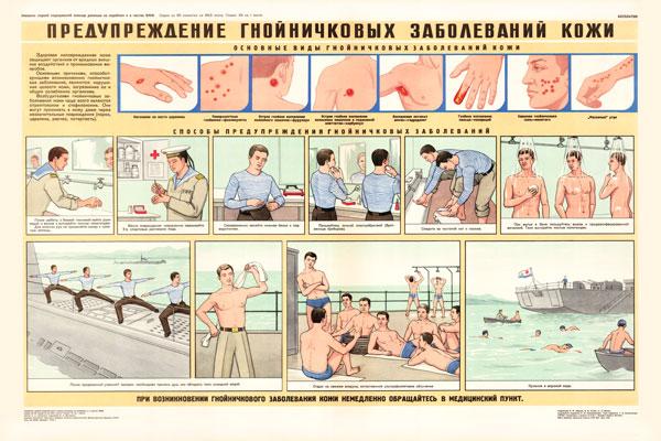 0356. Военный ретро плакат: Предупреждение гнойничковых заболеваний кожи