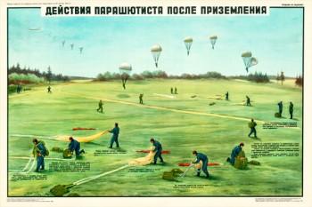 0415. Военный ретро плакат: Действия парашютиста после приземления