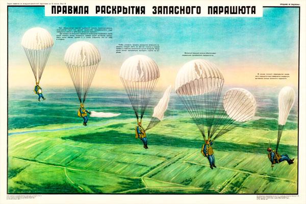 0416. Военный ретро плакат: Правила раскрытия запасного парашюта