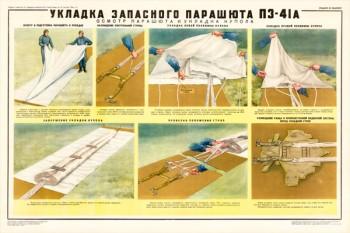 0421. Военный ретро плакат: Укладка запасного парашюта ПЗ-41А (укладка купола)