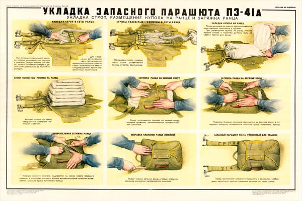 0422. Военный ретро плакат: Укладка запасного парашюта ПЗ-41А (укладка строп)