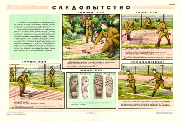 0424. Военный ретро плакат: Следопытство. Обнаружение следов.