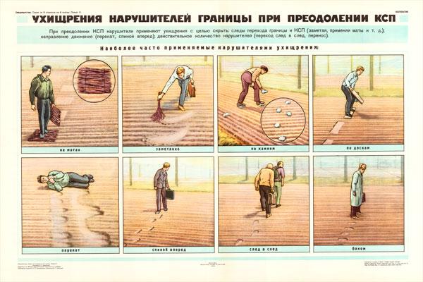 0845. Военный ретро плакат: Ухищрения нарушителей границы при преодолении КСП