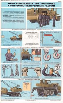 0449. Военный ретро плакат: Меры безопасности при подготовке к погрузочно-разгрузочным работам