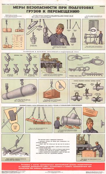 0450. Военный ретро плакат: Меры безопасности при подготовке грузов к перемещению