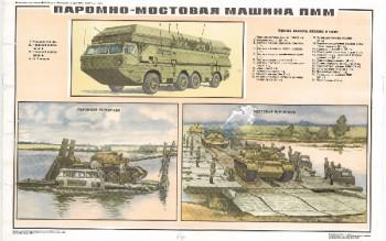 0465. Военный ретро плакат: Паромно-мостовая машина ПММ