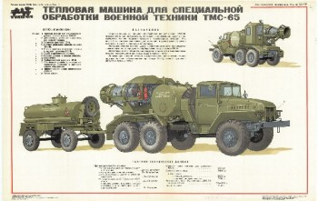 0476. Военный ретро плакат: Тепловая машина для специальной обработки военной техники ТМС-65