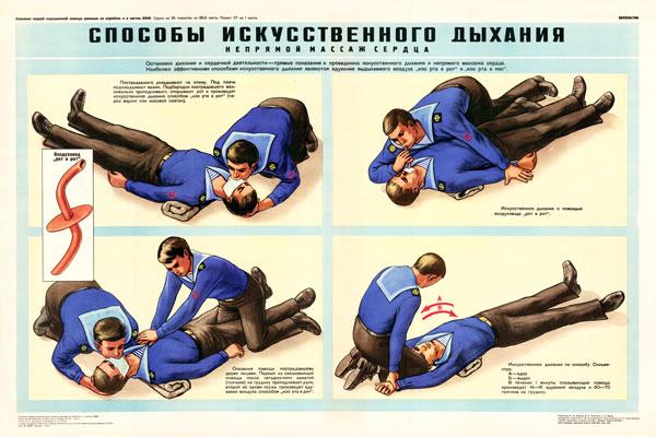 0338. Военный ретро плакат: Способы искусственного дыхания