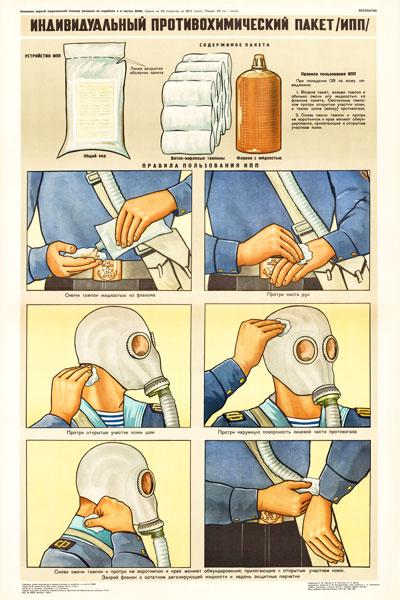 0485. Военный ретро плакат: Индивидуальный противохимический пакет (ИПП)
