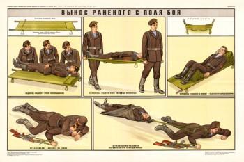 0341. Военный ретро плакат: Вынос раненого с поля боя
