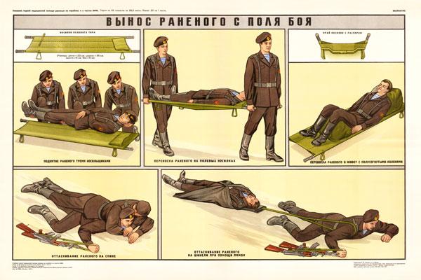 0486. Военный ретро плакат: Вынос раненого с поля боя