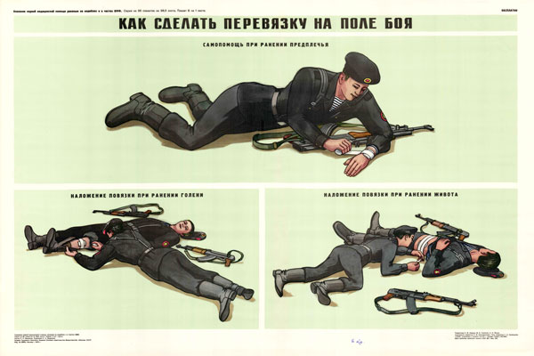 0343. Военный ретро плакат: Как сделать перевязку на поле боя