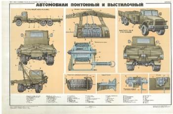 0522. Военный ретро плакат: Автомобили понтонный и выстилочный