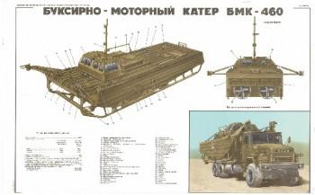 0530. Военный ретро плакат: Буксирно-моторный катер БМК-460