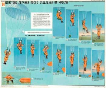 0550. Военный ретро плакат: Действие летчика после отделения от кресла