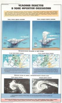 0562. Военный ретро плакат: Условия полетов в зоне фронтов окклюзии