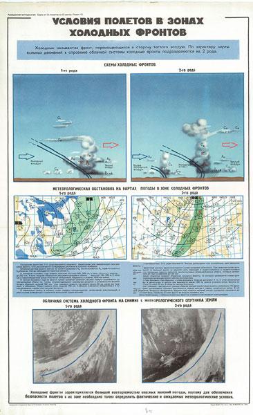 0566. Военный ретро плакат: Условия полетов в зонах холодных фронтов