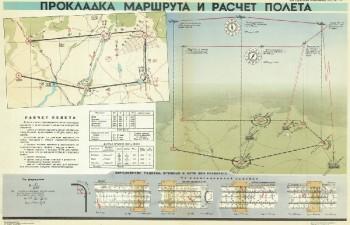 0617. Военный ретро плакат: Прокладка маршрута и расчет полета