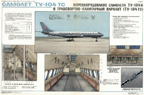 0626. Военный ретро плакат: Переоборудование самолета ТУ-104б в транспортно-санитарный вариант ТУ-104 тс