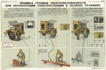 0635. Военный ретро плакат: Правила техники электробезопасности при эксплуатации электростанции в особых условиях