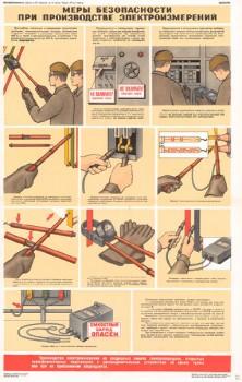 0667. Военный ретро плакат: Меры безопасности при производстве электроизмерений