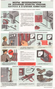 0669. Военный ретро плакат: Меры безопасности при эксплуатации аппаратуры управления, контроля и вторичной коммутации