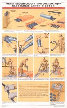 0670. Военный ретро плакат: Меры безопасности при эксплуатации кабельных линий и сетей