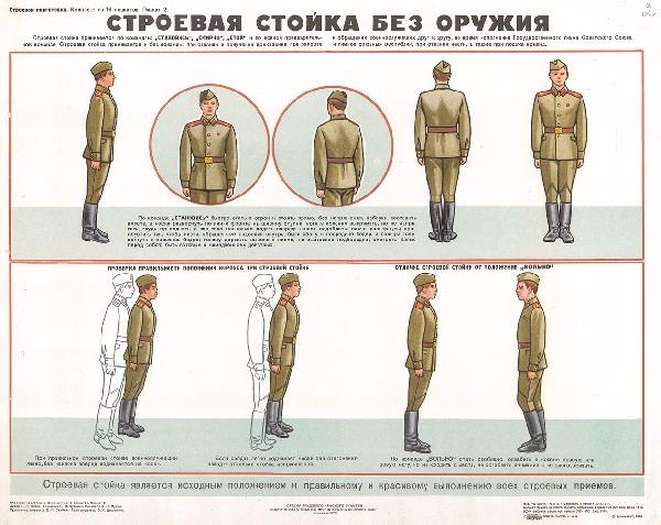 0674. Военный ретро плакат: Строевая стойка без оружия