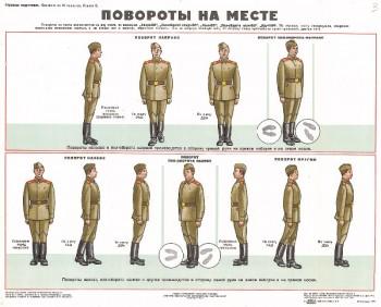 0675. Военный ретро плакат: Повороты на месте