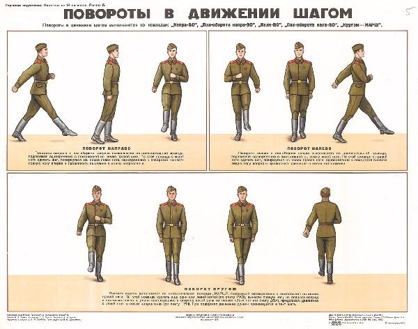 0677. Военный ретро плакат: Повороты в движении шагом