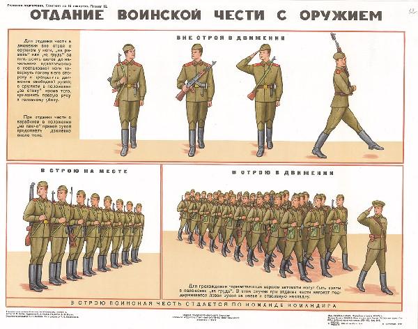 0684. Военный ретро плакат: Отдание воинской чести с оружием