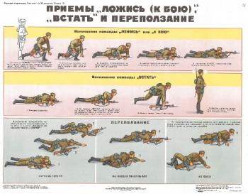 0688. Военный ретро плакат: Приемы ложись (к бою), встать и переползание