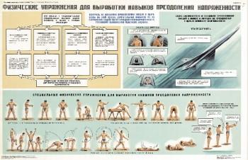 0691. Военный ретро плакат: Физические упражнения для выработки навыков преодоления напряженности