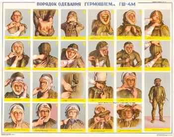 0396. Военный ретро плакат: Порядок одевания гермошлема ГШ-4М