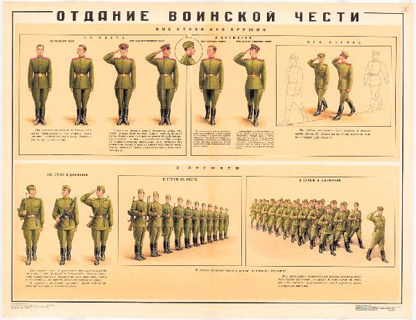0700. Военный ретро плакат: Отдание воинской чести (Вариант 2)