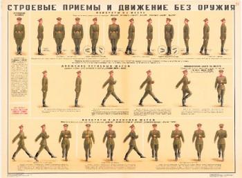 0702. Военный ретро плакат: Строевые приемы и движение без оружия (Вариант 2)