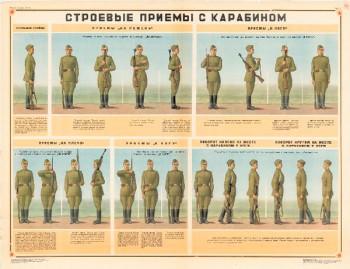 0703. Военный ретро плакат: Строевые приемы на месте с карабином (Вариант 2)