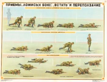0705. Военный ретро плакат: Приемы ложись (к бою), встать и переползание (Вариант 2)